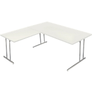 Bureautafel Toledo, met aanbouwtafel, in hoogte verstelbaar, C-poot, B 1600 x D 800 mm, wit