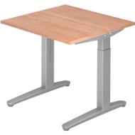 Bureautafel TOPAS LINE, handmatig in hoogte verstelbaar, B 800 mm, notenboom/zilver/zilver