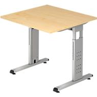 Bureautafel ULM, C-poot, rechthoek, B 800 x D 800 x H 650-850 mm, esdoornpatroon