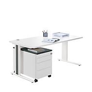 Bureautafel + verrijdbaar ladeblok + accentlijst PLANOVA BASIC, wit/grafiet/grafiet