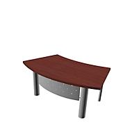 Bureautafel X-TIME-WORK, 4-poot, boog, B 1800 x D 900 x H 740 mm, wengépatroon/aluminium
