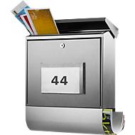 Burg Wächter Briefkasten Malaga, Zeitungsbox, beleuchtete Hausnummer, abschließbar,Edelstahl