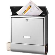 Burg Wächter Briefkasten Nordland, Edelstahl, beidseitige Zeitungsbox, Schrägdach, Edelstahl