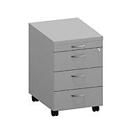 Caisson mobile ARLON-OFFICE, 1 + 3 tiroirs en bois, l. 420 x P 560 x H 585 mm, gris clair