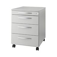 Caisson mobile LOGIN, 3 tiroirs, 1 tiroir-plumier, verrouillage central, l. 432 x P 580 x H 595 mm, gris clair/gris clair