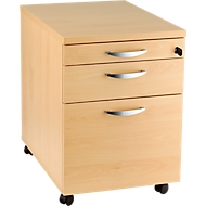 Caisson mobile NEVADA, 1 tiroir-plumier + 1 tiroir + 1 tiroir à DS, l. 430 x P 600 x H 600 mm, décor hêtre
