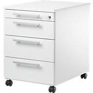 Caisson mobile SET UP, 4 tiroirs dont 1 tiroir-plumier, verrouillable, l. 432 x P 580 x H 595 mm, blanc/blanc