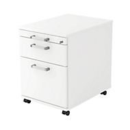 Caisson mobile TARVIS, 1 tiroir-plumier + 1 tiroir + 1 tiroir à dossiers suspendus, blanc