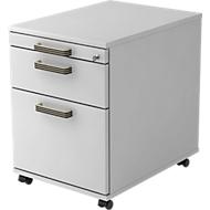 Caisson mobile TOPAS LINE, 1 tiroir, 1 cadre à classement suspendu, 1 tiroir-plumier, P 580, gris clair/gris clair