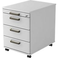 Caisson mobile TOPAS LINE, 3 tiroirs, 1 tiroir-plumier, fermeture à clé, gris clair/gris clair, P 580mm
