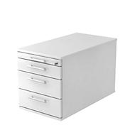 Caisson mobile ULM, 3 tiroirs, l. 428 x P 800 x H 512 mm, gris clair