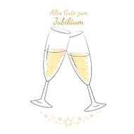 Carte double-volet anniversaire LUMA, motif flûtes de champagne, texture papier granuleux, avec enveloppe