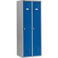 Casier de vestiaires à 2 compartiments, serrure à came batteuse, argent clair/bleu gentiane