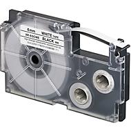 Casio belettingsband XR, breedte lint 6 mm, zwart op wit, L 8 m