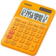 Casio tafelrekenmachine MS-20UC, 12-cijferig LC-display, werkt op zonne-energie/batterijen, oranje