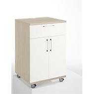 Catering-caddy, met koelkast en uitklapvak, B 650 x D 600 x H 1000 mm, zonder koelbox, eikenpatroon/wit