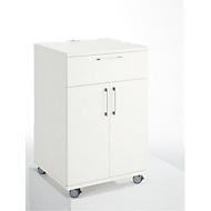 Catering-Caddy, mit Kühlschrankfach und Klappfach, B 650 x T 600 x H 1000 mm, ohne Kühlbox, weiß