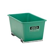 CEMO rechthoekige bakken met insteekkokers voor heftrucks, groen, 300 l