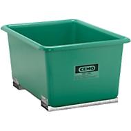 CEMO rechthoekige bakken met insteekkokers voor heftrucks, groen, 550 l