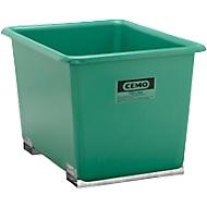 CEMO rechthoekige bakken met insteekkokers voor heftrucks, groen, 700 l