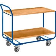 Chariot à 2 étages, avec bord en bois, l. 1000 x P 575 mm