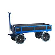 Chariot à timon, avec 4 ridelles, 1560 x 760 mm, roues en caoutchouc plein Ø 400 x l. 80 mm