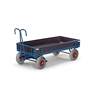 Chariot à timon avec ridelles, 960 x 660 mm, roues en caoutchouc plein Ø 250 x l. 60 mm