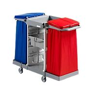 Chariot de ménage collecteur de déchets Duo, avec 2 bacs de rangement et 2 supports de sac poubelle