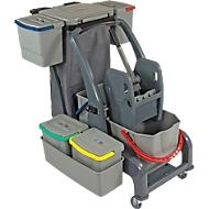 Chariot de ménage Sprintus PRO XL Sprintus, 6 seaux/67 L en tout, Support pour sac poubelle, bac, pour usage intérieur, gris