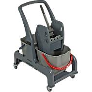 Chariot de nettoyage Sprintus CombiX, 2 seaux de 25 L, presse à mâchoires et auget, pour l'intérieur, gris