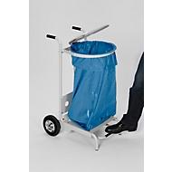 Chariot porte-sacs poubelle avec pédale d'ouverture, laqué époxy, 2 roulettes