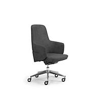 Chefsessel Halbhochlehner OPERA, mit Armlehnen, Synchronmechanik, Komfort-Flachsitz, Kunstleder, schwarz
