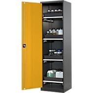 Chemicaliënkast, vleugeldeur, 4 uittrekbare bakken, 545x520x1950 mm, veiligheid: