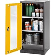 Chemicaliënkast, vleugeldeur en glasplaat, 2 legborden, H 1105 mm, veiligheid: