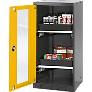 Chemicaliënkast, vleugeldeur en glasplaat, 2 schuifladen, H 1105 mm, veiligheid: