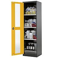 Chemicaliënkast, vleugeldeur en glasplaat, 3 legborden, H 1950 mm, veiligheid: