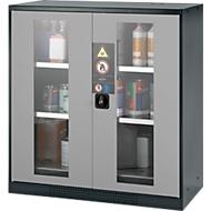 Chemicaliënkast, Vleugeldeur met glasplaat, 2 legborden, 1055x520x1105 mm, zilver