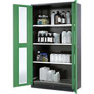Chemicaliënkast, Vleugeldeur met glasplaat, 3 legborden, 1055x520x1950 mm, resedagroen