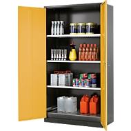 Chemikalienschrank, Flügeltür, 3 Böden, 1055x520x1950 mm, sicherheitsgelb