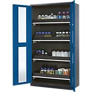 Chemikalienschrank, Flügeltür m. Glasauschnitt, 4 Auszugswannen, 1055x520x1950 mm, enzianblau