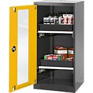 Chemikalienschrank, Flügeltür und Glasausschnitt, 2 Auszüge, H 1105  mm, sicherheitsgelb