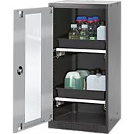Chemikalienschrank, Flügeltür und Glasausschnitt, 2 Auszüge, H 1105  mm, silber