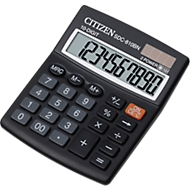 Citizen zakrekenmachine SDC 810BN semi, 10-cijferige LCD-weergave, batterij en zonne-energie