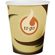 Coffee to go beker, voor 0,2 l, bedrukt karton, beige-zwart, 50 stuks