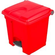 Collecteur de déchets à pédale en polyéthylène 30 L, rouge