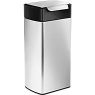 Collecteur de déchets Touch, rectangulaire. Couvercle noir, 30 litres