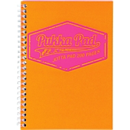 Collegeblock Pukka Pad Jotta Neon, Drahtbindung, 100 perforierte Blatt/200 Seiten, Format A5, kariert, orange