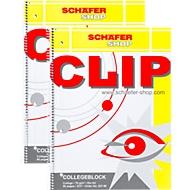 Collegeblok SCHÄFER SHOP Clip, A4, geruit, 70 g/m², 80 vellen, 10 stuks