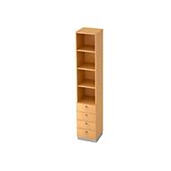 Combi-boekenkast 3 legborden + 4 laden, spaanplaat, B 400 x D 420 x H 2200 mm, beukendecor