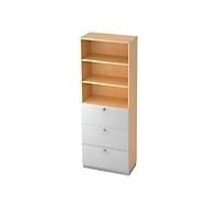 Combi-boekenkast, 3 vakken + 4 HM-laden, spaanplaat, 6 OH, B 400 x D 420 mm, ahorndecor/zilver
